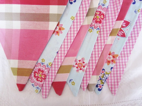 SALE.....Classic Bunting. Colours - Pinks and Pale Blue. Patterns -  Stripes, Flowers and Gingham.