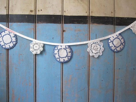 Vintage Doily Bunting. Crochet Vintage doilies in cream with Blue edges.