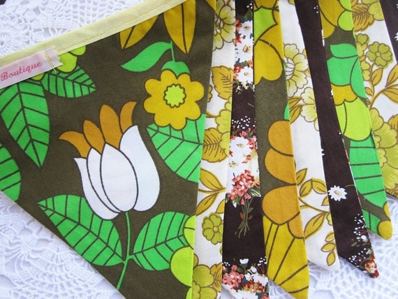SALE ....Classic Bunting. Colours - Chocolate Brown, Mustard, Yellow and Green. Fabric Pattern -  Retro Flowers.