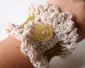 Ruffle Cuff neutral, green, yellow, button, on sale