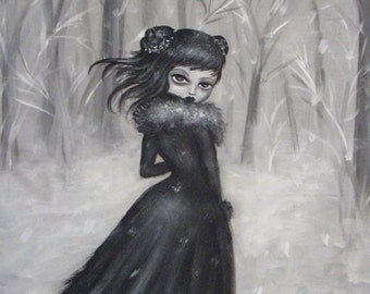 DEPARTURE black and white  victorian gothic vampire big eye giclee PRINT by Nina Friday