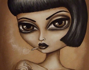 BIRDY smoking gothic pin up big eye punk tattooed girl stretched CANVAS print by Nina Friday