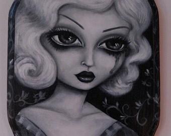BABY DOLL film noir big eye gothic pin up crying beauty giclee PRINT by Nina Friday