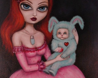 LUCKY big eye gothic victorian girl with bunny giclee PRINT by Nina Friday