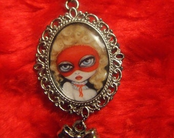 GAMES 2 big eye victorian Marie Antoinette masquerade mask flirty cameo pendant necklace NINA FRIDAY