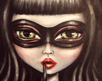CAT BURGLAR big green eye cat girl in black mask and black gloves giclee print by Nina Friday