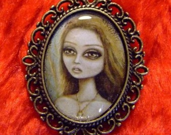 PERSEPHONE big eye gothic woman in distress cameo pendant necklace Nina Friday