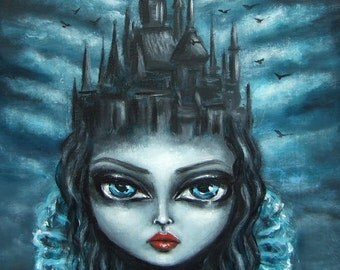 HOME Is Where The HEART Is big eye gothic  GICLEE print by Nina Friday
