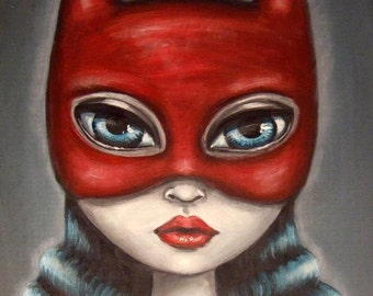 HELP is HERE   big eye superhero sexy bat girl GICLEE print by Nina Friday