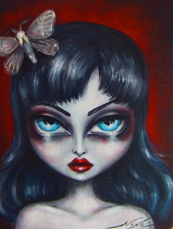 ADELA big eye gothic fairy girl with moth CANVAS  giclee print by Nina Friday