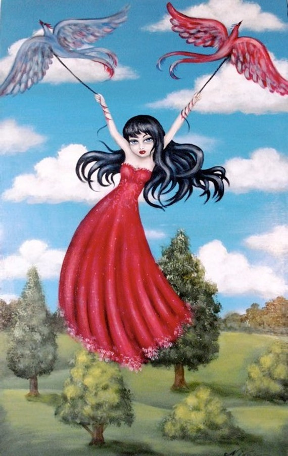 ABDUCTED  gothic  big eye girl taken away by birds giclee PRINT by Nina Friday