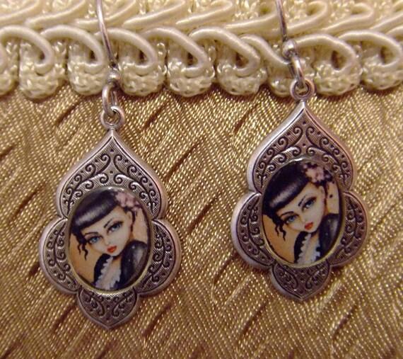 BETTY LEE big eye pin up vintage look sterling silver earrings Nina Friday