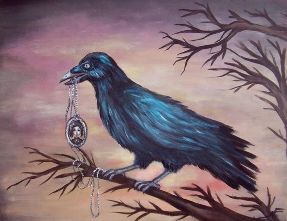 NEVERMORE gothic Poe's raven with a portrait necklace   giclee print by Nina Friday