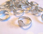 SALE - 100 Adjustable Ring Blanks - 10mm pad - silver tone diy jewelry finding supplies
