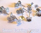 100pcs (50 pairs) Surgical Stainless Steel 5mm Flat-Pad Earring Posts and Backs glue on diy jewelry finding supplies