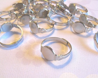200 Adjustable Ring Blanks - 10mm pad - silver tone diy jewelry finding supplies
