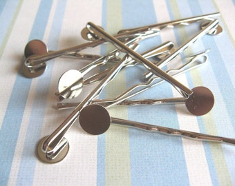 50pcs Bobby Pins with 10mm Pad - Silver