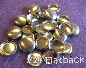 100 Cover Buttons FLAT BACKS - 5/8 inch - Size 24  flat backs no loops covered buttons notion supplies diy refill