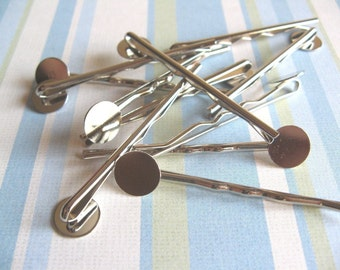10pcs Bobby Pins with 10mm Pad - Silver