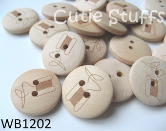 20mm Wood Buttons - Thread Spool - Set of 6