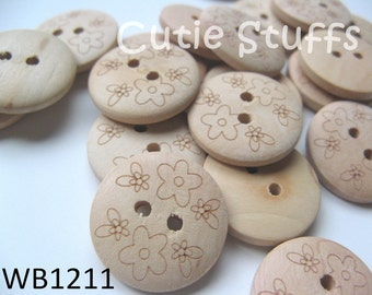 20mm Wood Buttons - Cute Flowers - Set of 6