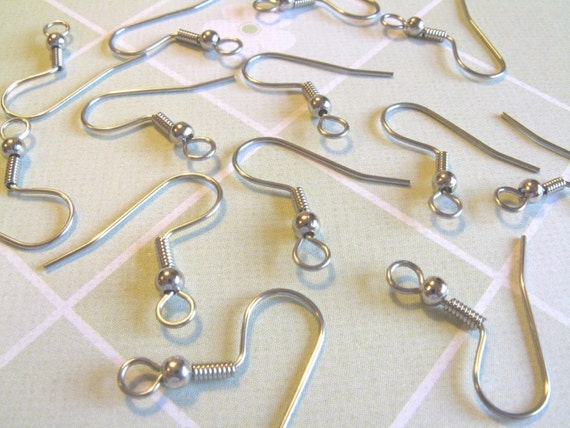 100pcs (50 pairs) Surgical Stainless Steel French Hook Earwires with Backs earwires diy jewelry finding supplies