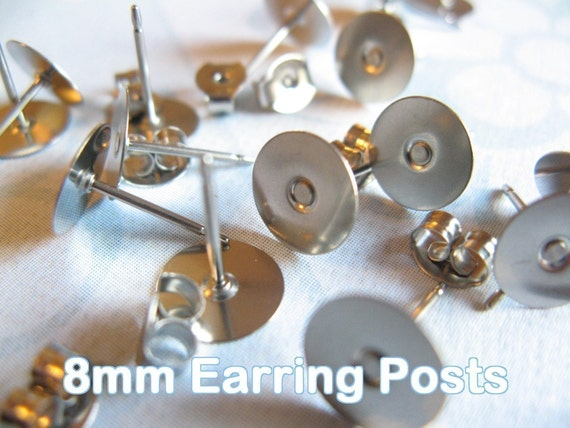 48pcs (24 pairs) Surgical Stainless Steel 8mm Flat-Pad Earring Posts and Backs glue on diy jewelry finding supplies