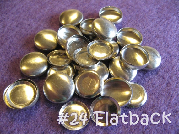 25 Cover Buttons FLAT BACKS- 5/8 inch - Size 24  flat backs no loops covered buttons notion supplies diy refill