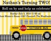 Custom Vintage School Bus Printable Invitation