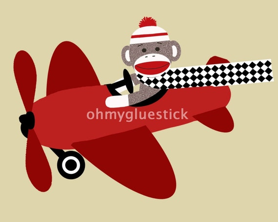 Sock Monkey in Airplane 8x10 Print (Printable)