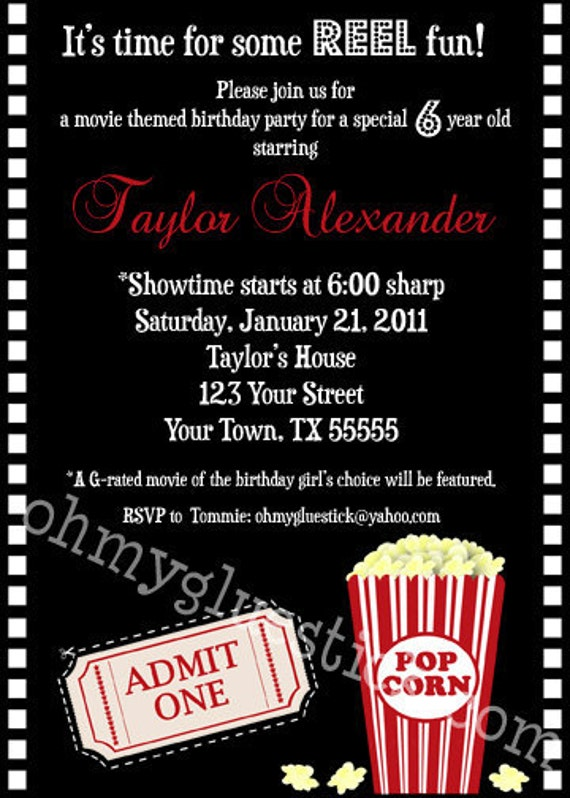 Items similar to Original Movie Party Invitation by Oh My ...