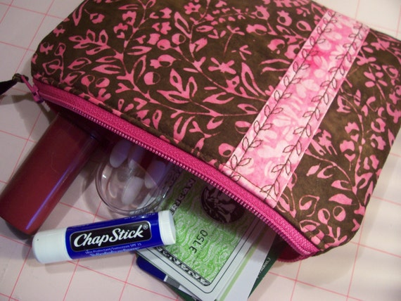 Medium Padded ZIPPER POUCH with Decorative Trim and Stitching