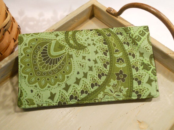 CHECKBOOK Cover with Clear ID Window ....in Green Paisley