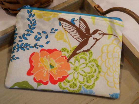 Padded ZIPPER POUCH with Hummingbirds and Flowers