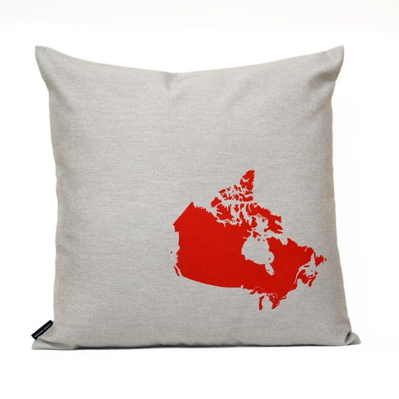 Map of Canada Pillow Cover in Grey Twill