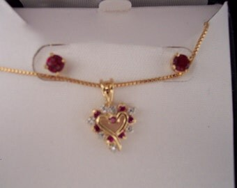 Heart Necklace with Matching Earrings Set