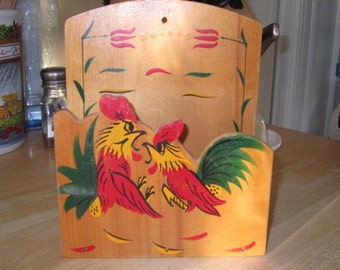 Wooden Rooster Napkin Holder