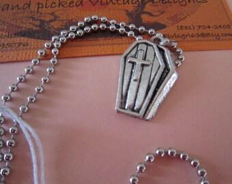 Gothic Halloween Coffin Charm Necklace