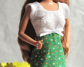 Barbie Dress White Eyelet Green Calico Print