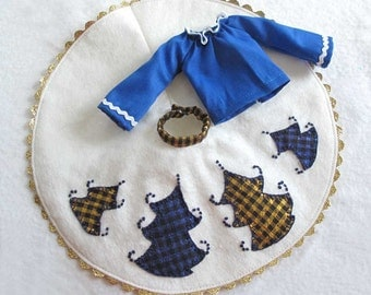 Barbie Clothes Nordic White Felt Skirt and Blue Peasant Blouse with Blue and Gold Trees - Hand Applique and Embroidery - Original Design
