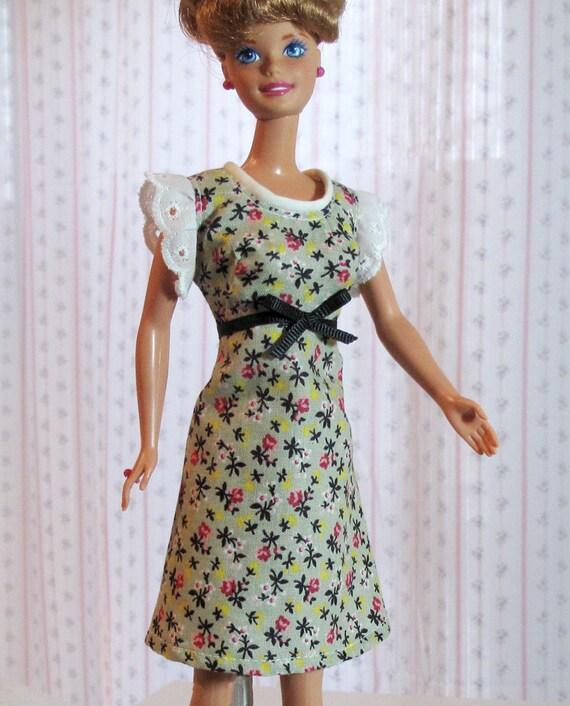 Barbie Dress - Handmade Gray Calico