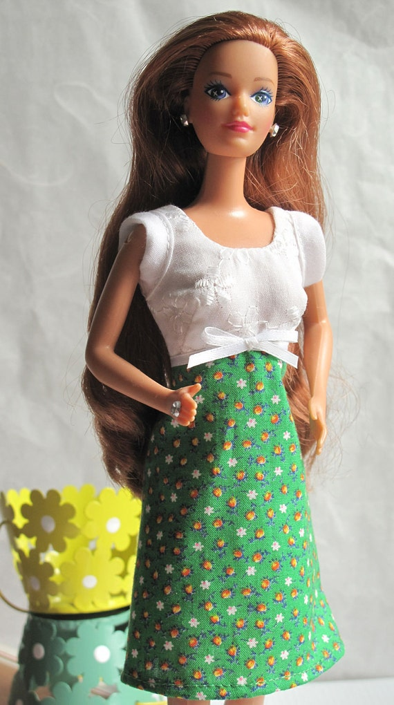 Barbie Dress White Eyelet Green Calico Print
