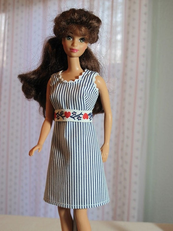 Barbie Dress Hearts and Stripes Red White Blue