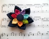 Rainbow in Blue Denim Fabric kanzashi Flower Hair Clip