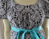 Maternity Hospital Gown/Trendy Style/Gorgeous Designer Charcoal Print by Michael Miller