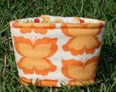 LAST IN STOCK - Reversible Coffee Cozy - Orange Butterfly and Dot by Sandi Henderson