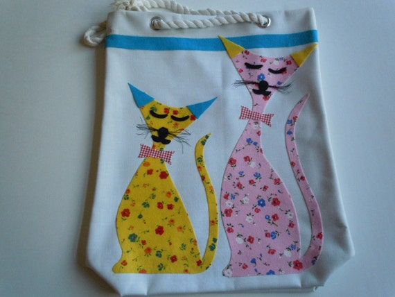 Vintage Mod Bag, Beach Bag or Tote - Cool Cat Design - Canvas and Drawstring