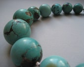SALE Large Polished Turquoise Statement Necklace