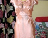 20 percent off Sale through May 9th.  Was 60 dollars USD now 48 this week only. Vintage silk 1930s 30s silk satin gown negligee lingere floor-length great condition