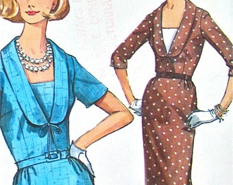 Vintage 60s sewing pattern from Simplicity 5790 One-Piece Dress Pattern Slim Skirt  Bust 35